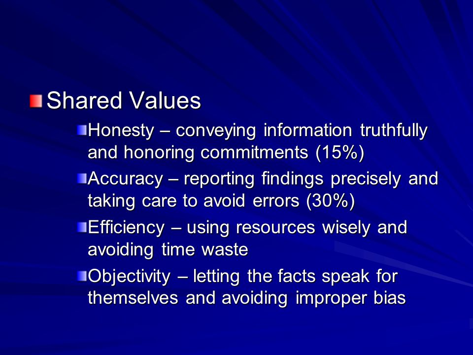 Shared Values Honesty – conveying information truthfully and honoring commitments (15%) Accuracy – reporting findings precisely and taking care to avoid errors (30%) Efficiency – using resources wisely and avoiding time waste Objectivity – letting the facts speak for themselves and avoiding improper bias