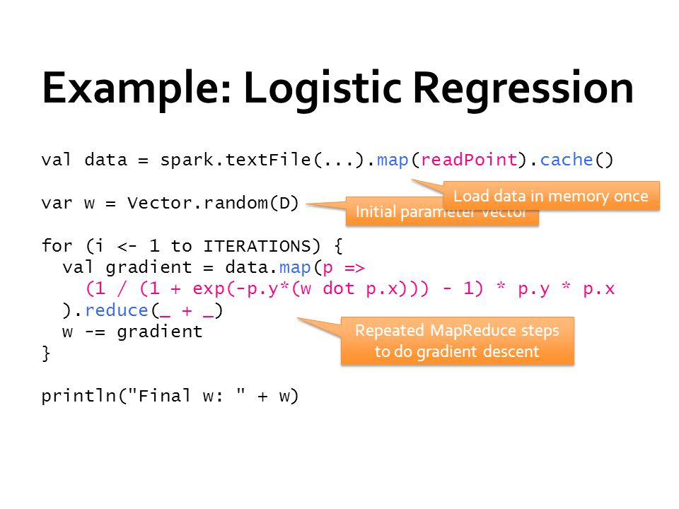 Example: Logistic Regression val data = spark.textFile(...).map(readPoint).cache() var w = Vector.random(D) for (i <- 1 to ITERATIONS) { val gradient = data.map(p => (1 / (1 + exp(-p.y*(w dot p.x))) - 1) * p.y * p.x ).reduce(_ + _) w -= gradient } println( Final w: + w) Initial parameter vector Repeated MapReduce steps to do gradient descent Load data in memory once