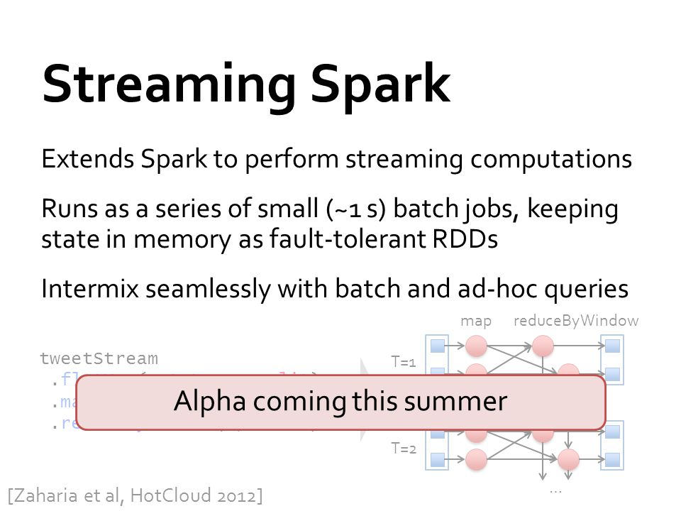 Streaming Spark Extends Spark to perform streaming computations Runs as a series of small (~1 s) batch jobs, keeping state in memory as fault-tolerant RDDs Intermix seamlessly with batch and ad-hoc queries tweetStream.flatMap(_.toLower.split).map(word => (word, 1)).reduceByWindow(5, _ + _) T=1 T=2 … mapreduceByWindow [Zaharia et al, HotCloud 2012] Alpha coming this summer