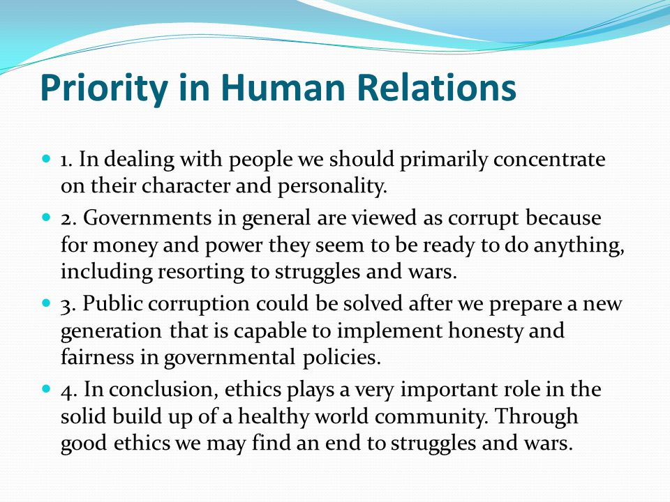 Priority in Human Relations 1.