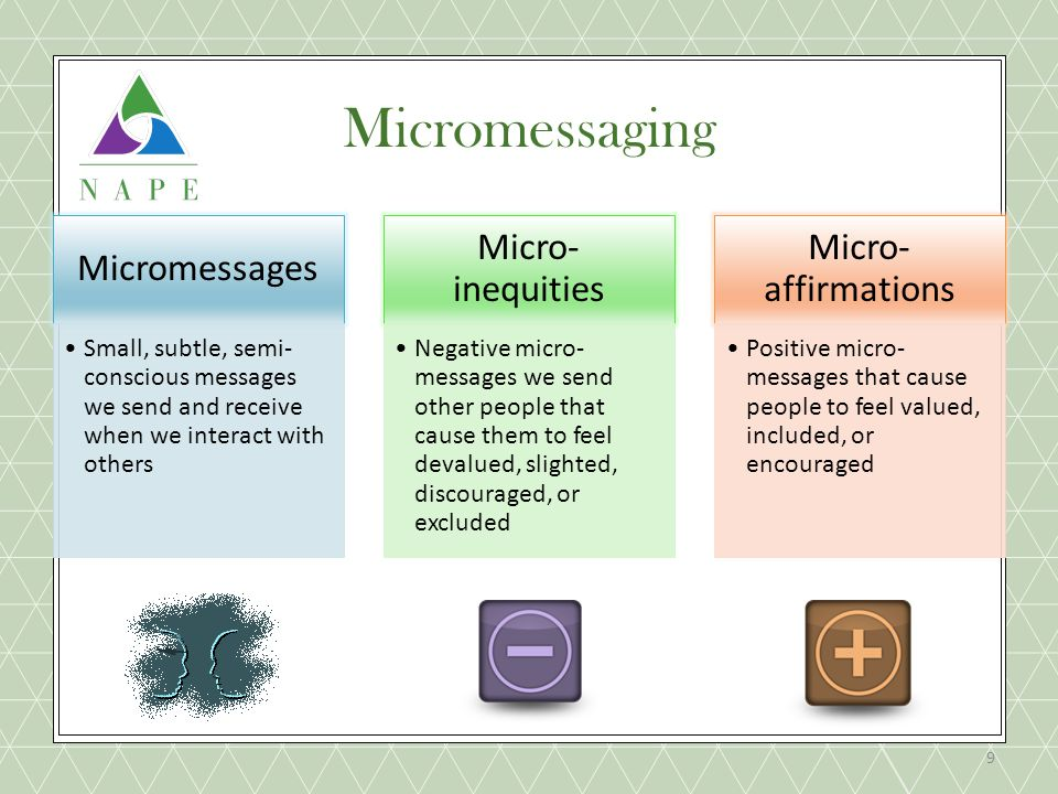 Micromessages Small, subtle, semi- conscious messages we send and receive when we interact with others Micro- inequities Negative micro- messages we send other people that cause them to feel devalued, slighted, discouraged, or excluded Micro- affirmations Positive micro- messages that cause people to feel valued, included, or encouraged 9 Micromessaging