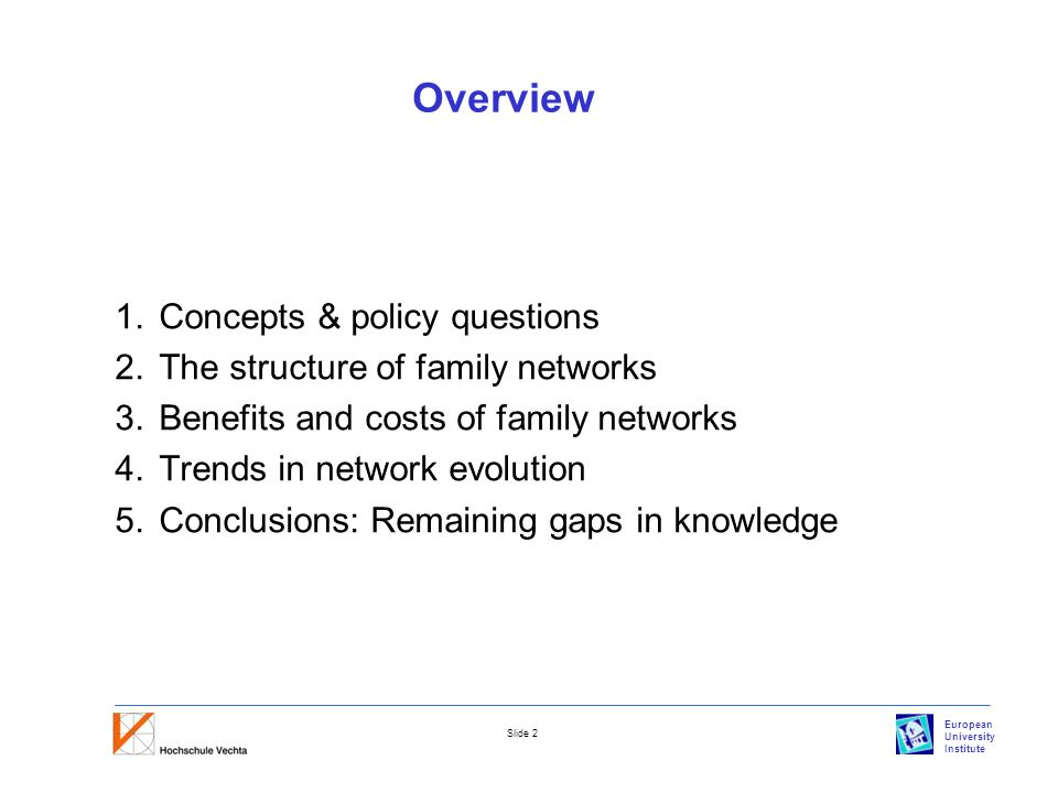 European University Institute Slide 2 Overview 1.Concepts & policy questions 2.The structure of family networks 3.Benefits and costs of family networks 4.Trends in network evolution 5.Conclusions: Remaining gaps in knowledge