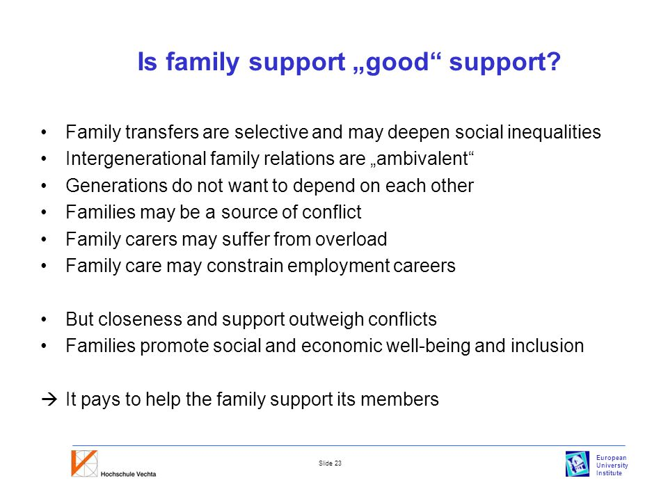 "European University Institute Slide 23 Is family support ""good support."