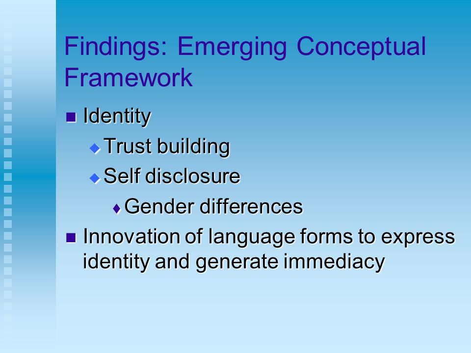 Findings: Emerging Conceptual Framework Identity Identity  Trust building  Self disclosure  Gender differences Innovation of language forms to express identity and generate immediacy Innovation of language forms to express identity and generate immediacy