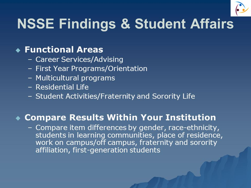 NSSE Findings & Student Affairs   Functional Areas – –Career Services/Advising – –First Year Programs/Orientation – –Multicultural programs – –Residential Life – –Student Activities/Fraternity and Sorority Life   Compare Results Within Your Institution – –Compare item differences by gender, race-ethnicity, students in learning communities, place of residence, work on campus/off campus, fraternity and sorority affiliation, first-generation students
