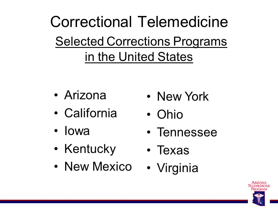 Correctional Telemedicine Selected Corrections Programs in the United States Arizona California Iowa Kentucky New Mexico New York Ohio Tennessee Texas Virginia