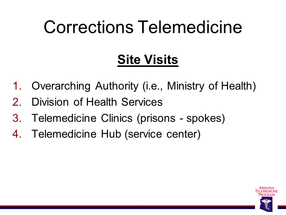 Corrections Telemedicine Site Visits 1.Overarching Authority (i.e., Ministry of Health) 2.Division of Health Services 3.Telemedicine Clinics (prisons - spokes) 4.Telemedicine Hub (service center)