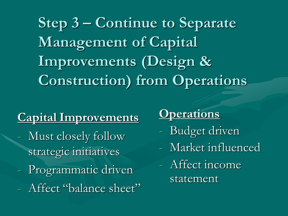 Step 3 – Continue to Separate Management of Capital Improvements (Design & Construction) from Operations Capital Improvements -Must closely follow strategic initiatives -Programmatic driven -Affect balance sheet Operations -Budget driven -Market influenced -Affect income statement