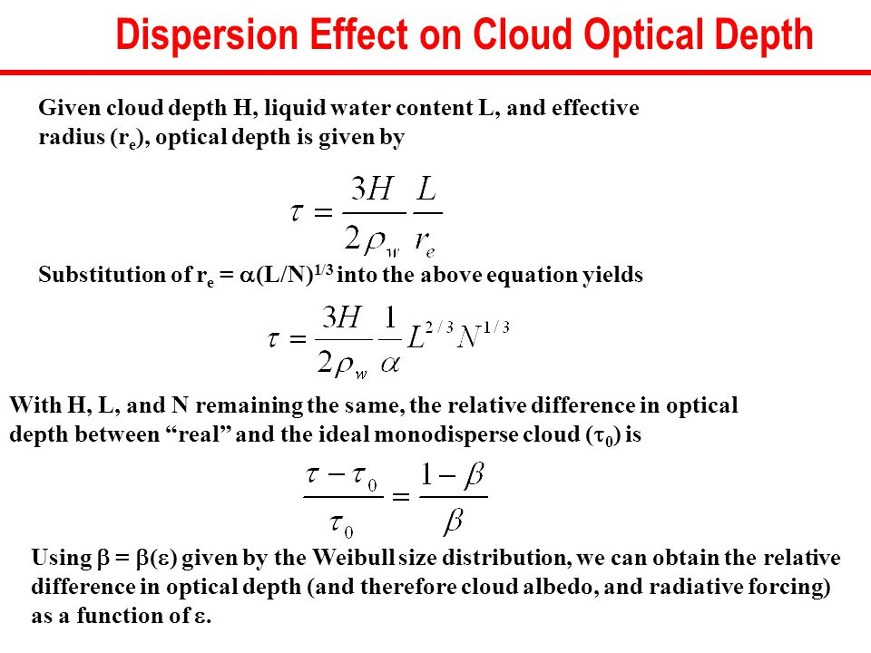 Given cloud depth H, liquid water content L, and effective radius (r e ), optical depth is given by Substitution of r e =  (L/N) 1/3 into the above equation yields With H, L, and N remaining the same, the relative difference in optical depth between real and the ideal monodisperse cloud (  0 ) is Using  =  (  ) given by the Weibull size distribution, we can obtain the relative difference in optical depth (and therefore cloud albedo, and radiative forcing) as a function of .