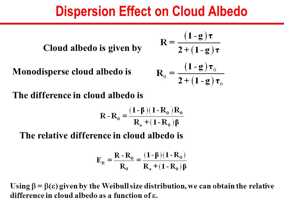Monodisperse cloud albedo is The difference in cloud albedo is Using  =  (  ) given by the Weibull size distribution, we can obtain the relative difference in cloud albedo as a function of .