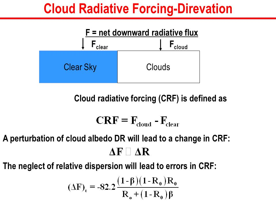 Cloud radiative forcing (CRF) is defined as Clear Sky F clear Clouds F cloud F = net downward radiative flux Cloud Radiative Forcing-Direvation A perturbation of cloud albedo DR will lead to a change in CRF: The neglect of relative dispersion will lead to errors in CRF: