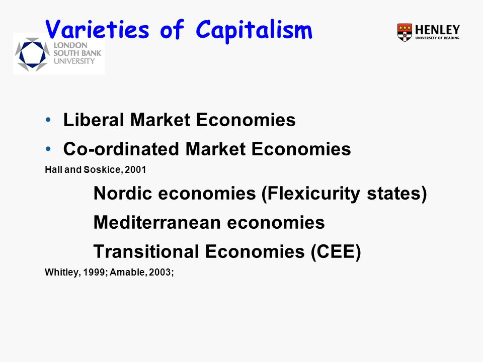 Varieties of Capitalism Liberal Market Economies Co-ordinated Market Economies Hall and Soskice, 2001 Nordic economies (Flexicurity states) Mediterranean economies Transitional Economies (CEE) Whitley, 1999; Amable, 2003;
