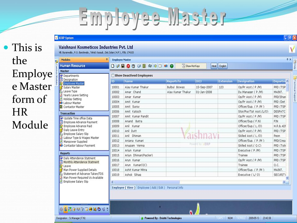 This is the Employe e Master form of HR Module