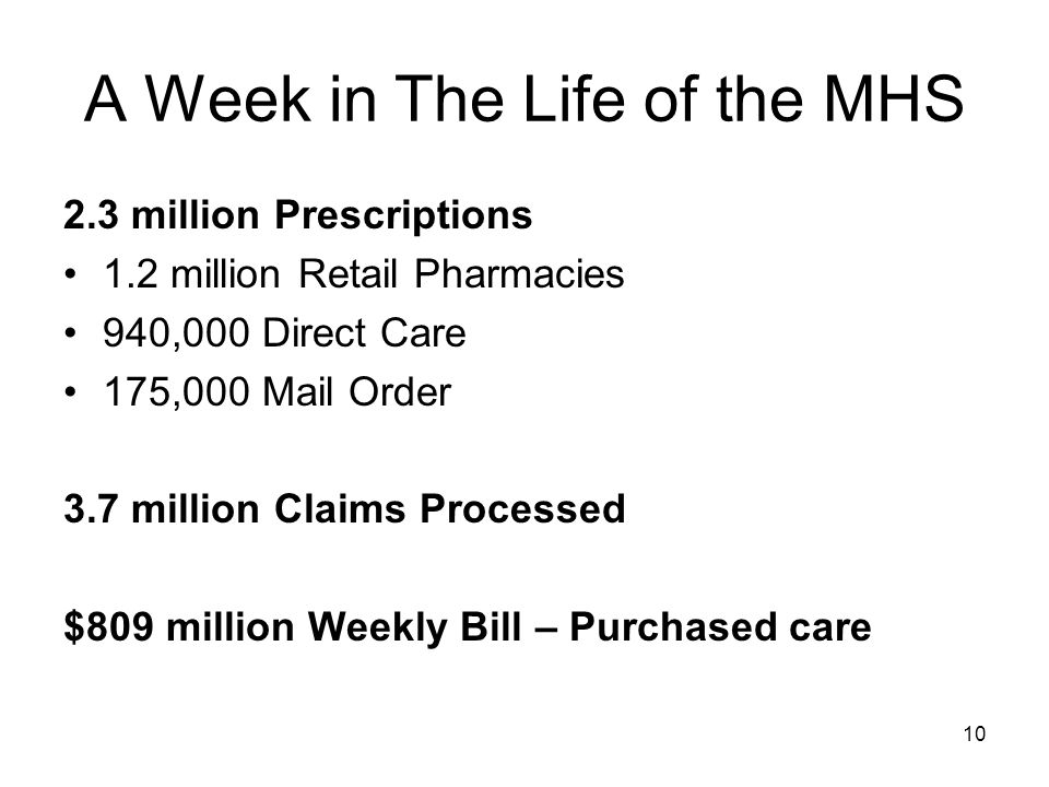 10 A Week in The Life of the MHS 2.3 million Prescriptions 1.2 million Retail Pharmacies 940,000 Direct Care 175,000 Mail Order 3.7 million Claims Processed $809 million Weekly Bill – Purchased care