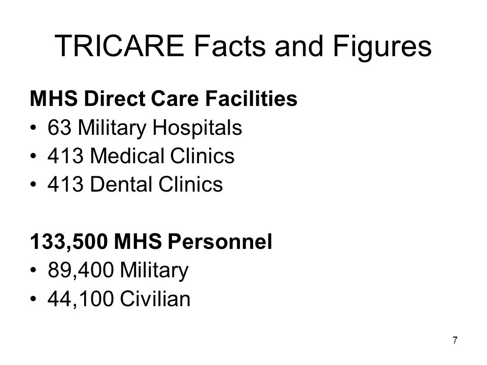 7 TRICARE Facts and Figures MHS Direct Care Facilities 63 Military Hospitals 413 Medical Clinics 413 Dental Clinics 133,500 MHS Personnel 89,400 Military 44,100 Civilian