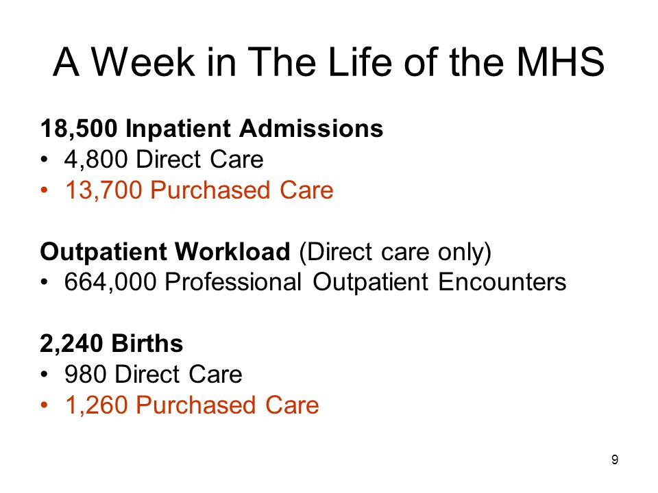 9 A Week in The Life of the MHS 18,500 Inpatient Admissions 4,800 Direct Care 13,700 Purchased Care Outpatient Workload (Direct care only) 664,000 Professional Outpatient Encounters 2,240 Births 980 Direct Care 1,260 Purchased Care