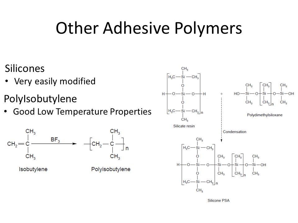 Other Adhesive Polymers PolyIsobutylene Good Low Temperature Properties Silicones Very easily modified
