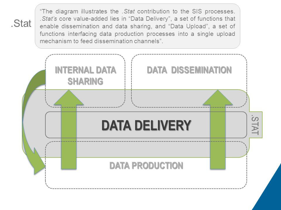 .Stat Positioning in Statistical Information System DATA DELIVERY INTERNAL DATA SHARING DATA DISSEMINATION DATA PRODUCTION.STAT The diagram illustrates the.Stat contribution to the SIS processes..Stat's core value-added lies in Data Delivery , a set of functions that enable dissemination and data sharing, and Data Upload , a set of functions interfacing data production processes into a single upload mechanism to feed dissemination channels .