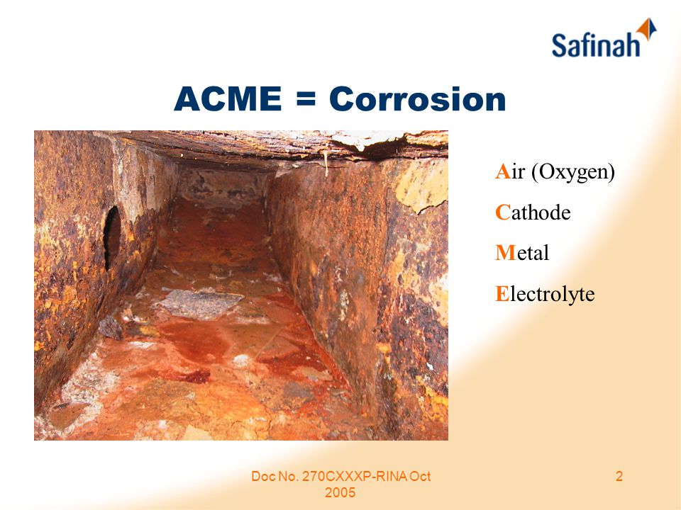 Doc No. 270CXXXP-RINA Oct 2005 2 ACME = Corrosion Air (Oxygen) Cathode Metal Electrolyte