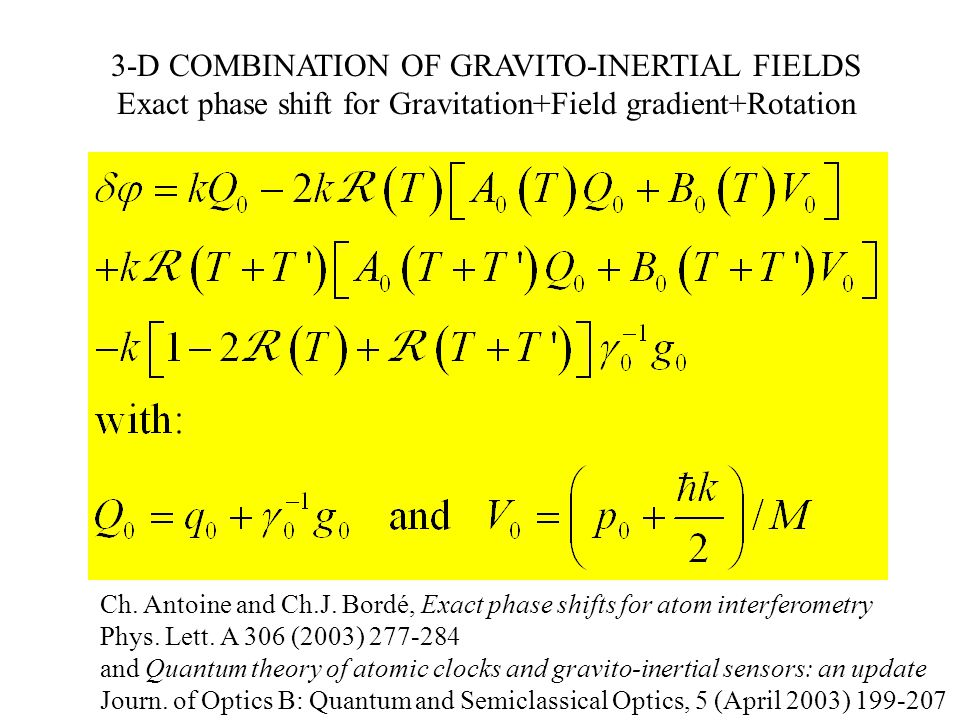 3-D COMBINATION OF GRAVITO-INERTIAL FIELDS Exact phase shift for Gravitation+Field gradient+Rotation Ch.