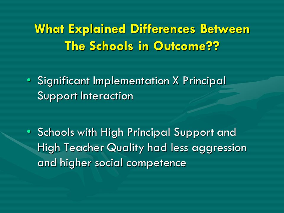 What Explained Differences Between The Schools in Outcome .