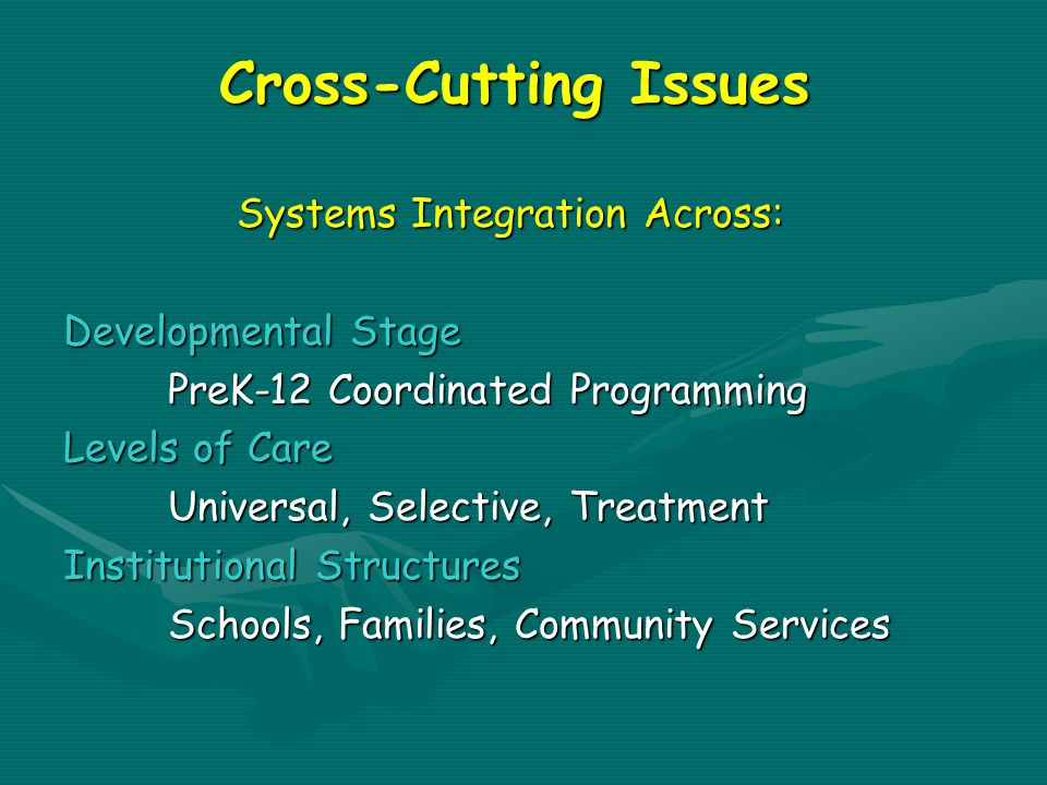 Cross-Cutting Issues Systems Integration Across: Developmental Stage PreK-12 Coordinated Programming Levels of Care Universal, Selective, Treatment Institutional Structures Schools, Families, Community Services
