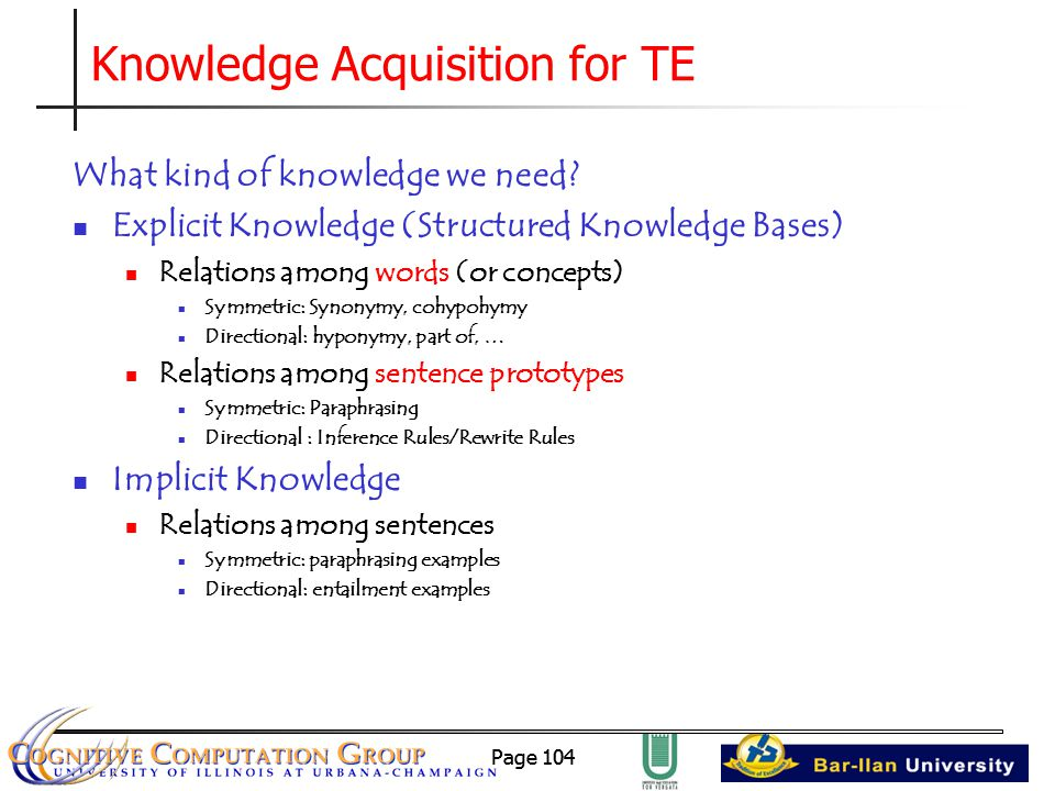 Page 104 Knowledge Acquisition for TE What kind of knowledge we need.