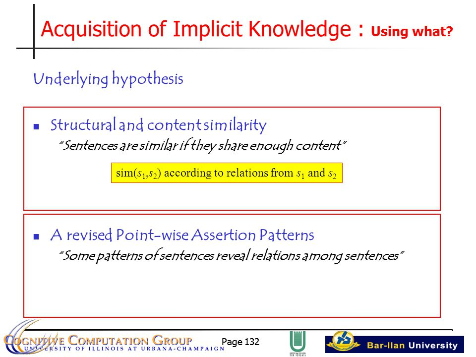 Page 132 Acquisition of Implicit Knowledge : Using what.