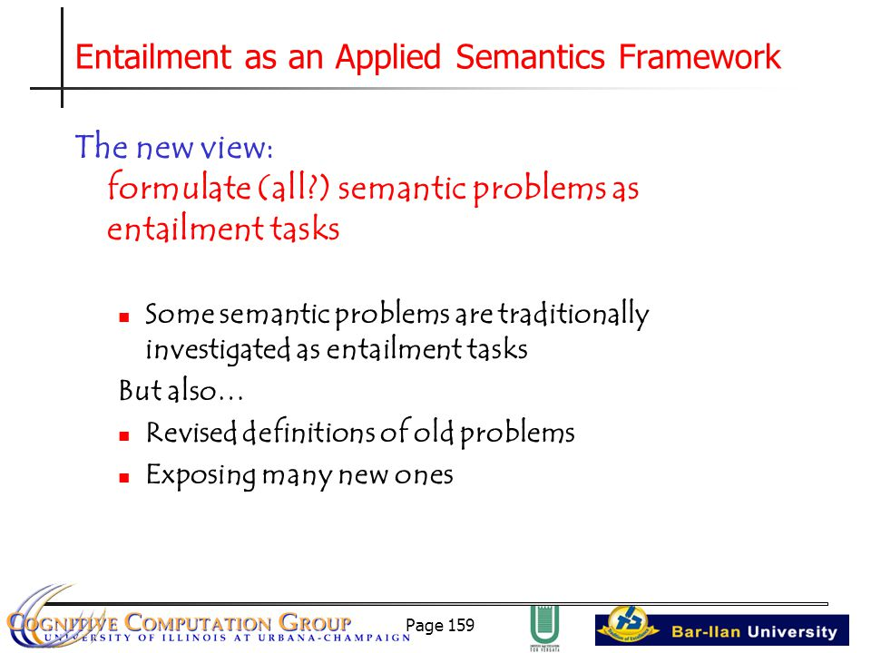 Page 159 Entailment as an Applied Semantics Framework The new view: formulate (all ) semantic problems as entailment tasks Some semantic problems are traditionally investigated as entailment tasks But also… Revised definitions of old problems Exposing many new ones