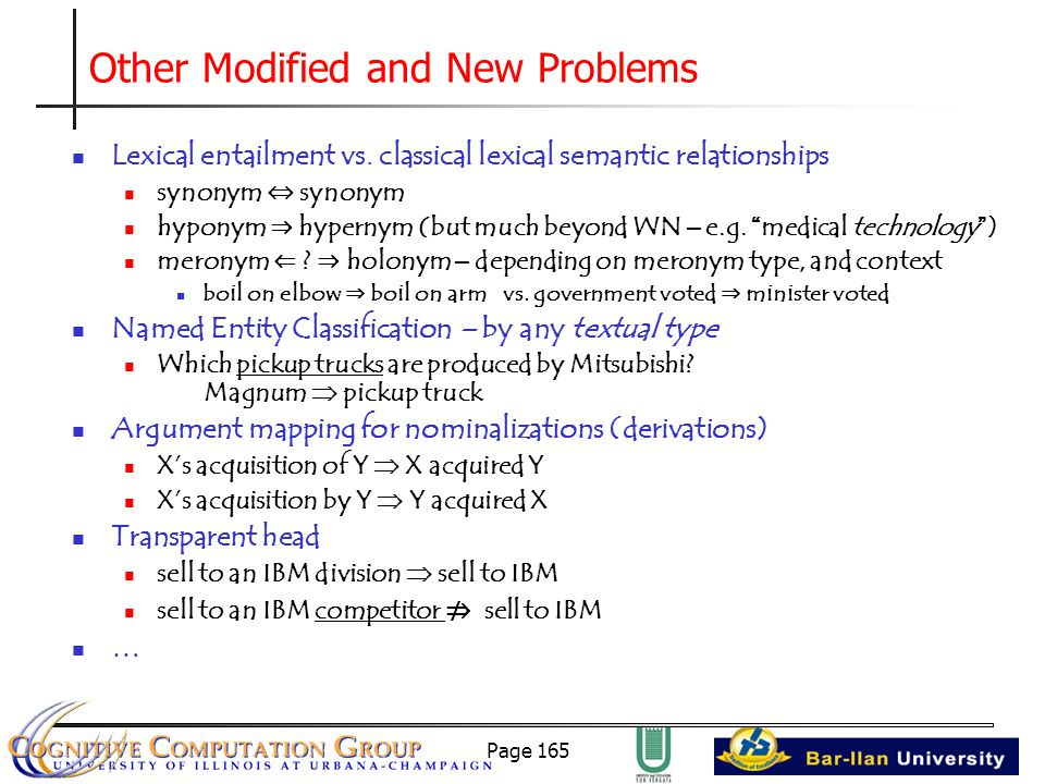 Page 165 Other Modified and New Problems Lexical entailment vs.