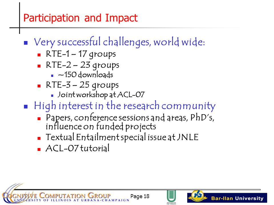 Page 18 Participation and Impact Very successful challenges, world wide: RTE-1 – 17 groups RTE-2 – 23 groups ~150 downloads RTE-3 – 25 groups Joint workshop at ACL-07 High interest in the research community Papers, conference sessions and areas, PhD's, influence on funded projects Textual Entailment special issue at JNLE ACL-07 tutorial