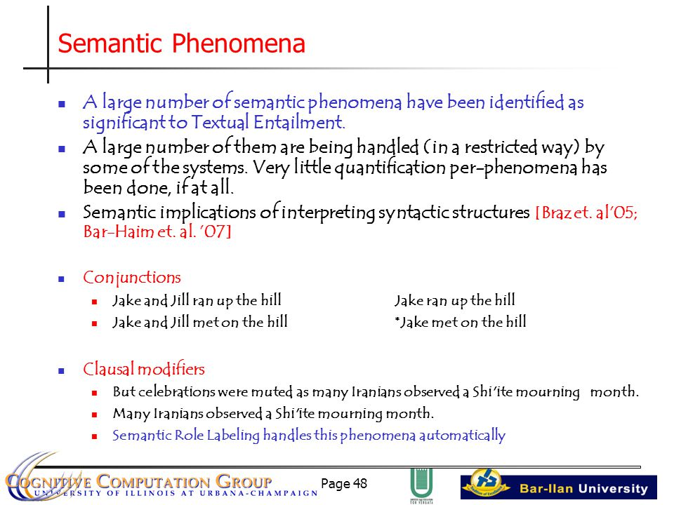 Page 48 Semantic Phenomena A large number of semantic phenomena have been identified as significant to Textual Entailment.