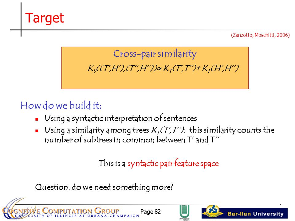 Page 82 Target How do we build it: Using a syntactic interpretation of sentences Using a similarity among trees K T (T',T''): this similarity counts the number of subtrees in common between T' and T'' This is a syntactic pair feature space Question: do we need something more.