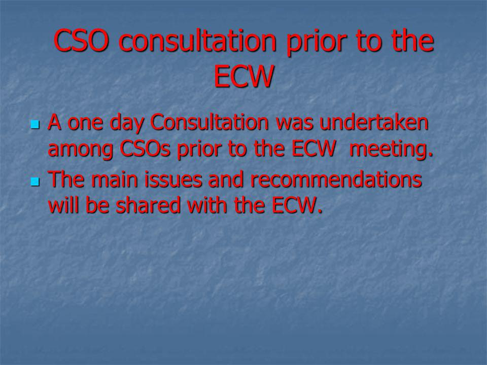 CSO consultation prior to the ECW A one day Consultation was undertaken among CSOs prior to the ECW meeting.