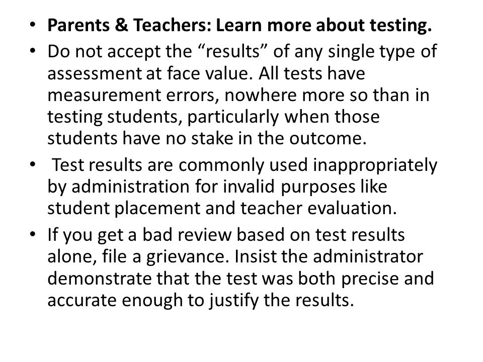 Parents & Teachers: Learn more about testing.