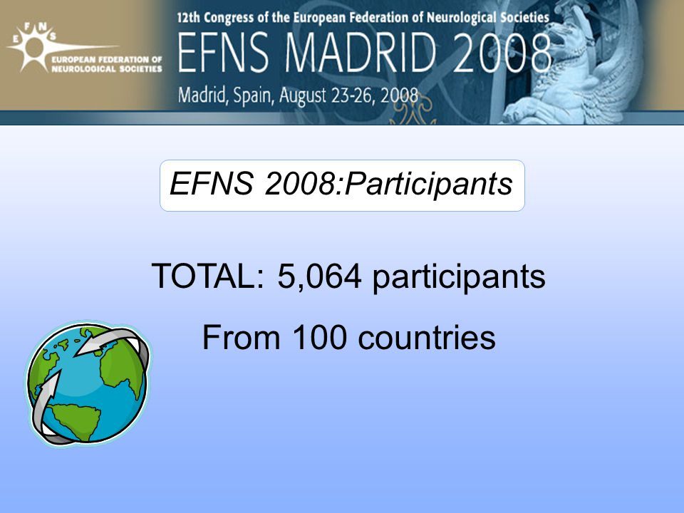 TOTAL: 5,064 participants From 100 countries EFNS 2008:Participants