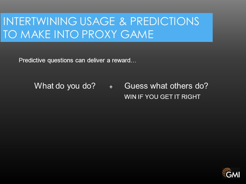 INTERTWINING USAGE & PREDICTIONS TO MAKE INTO PROXY GAME What do you do.