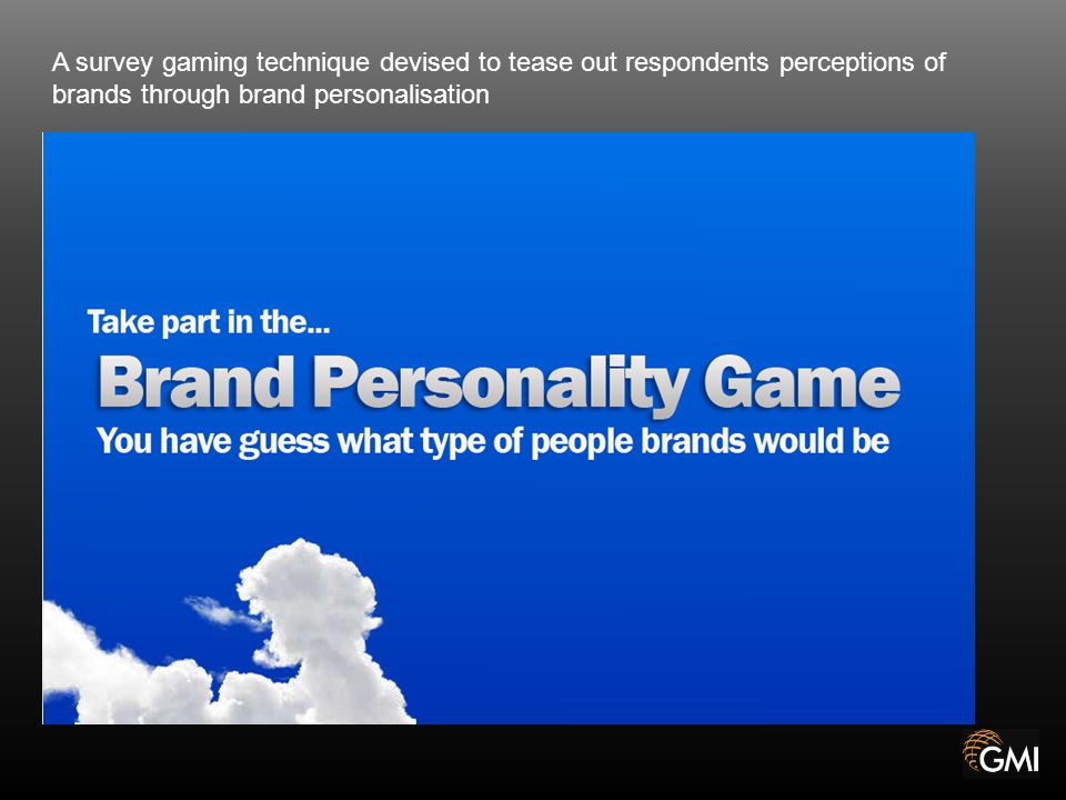 A survey gaming technique devised to tease out respondents perceptions of brands through brand personalisation