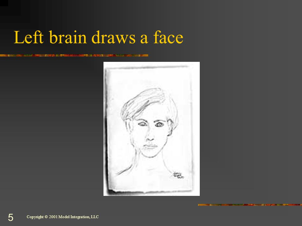Copyright © 2001 Model Integration, LLC 5 Left brain draws a face