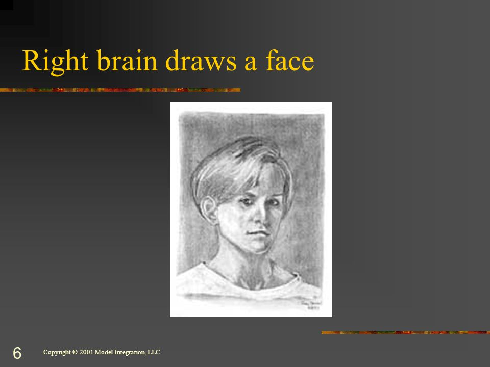 Copyright © 2001 Model Integration, LLC 6 Right brain draws a face