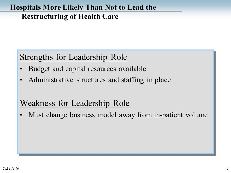 1CoE 8.18.10 Hospitals More Likely Than Not to Lead the Restructuring of Health Care Strengths for Leadership Role Budget and capital resources available Administrative structures and staffing in place Weakness for Leadership Role Must change business model away from in-patient volume Strengths for Leadership Role Budget and capital resources available Administrative structures and staffing in place Weakness for Leadership Role Must change business model away from in-patient volume