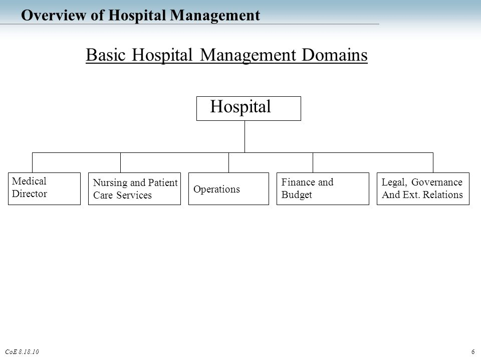 6CoE 8.18.10 Overview of Hospital Management Basic Hospital Management Domains Hospital Nursing and Patient Care Services Operations Medical Director Finance and Budget Legal, Governance And Ext.