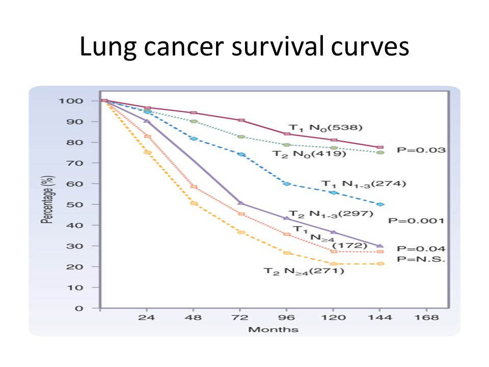 Lung cancer survival curves