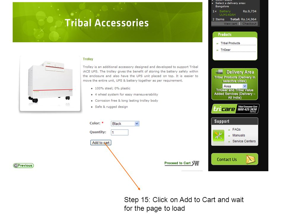 Step 15: Click on Add to Cart and wait for the page to load