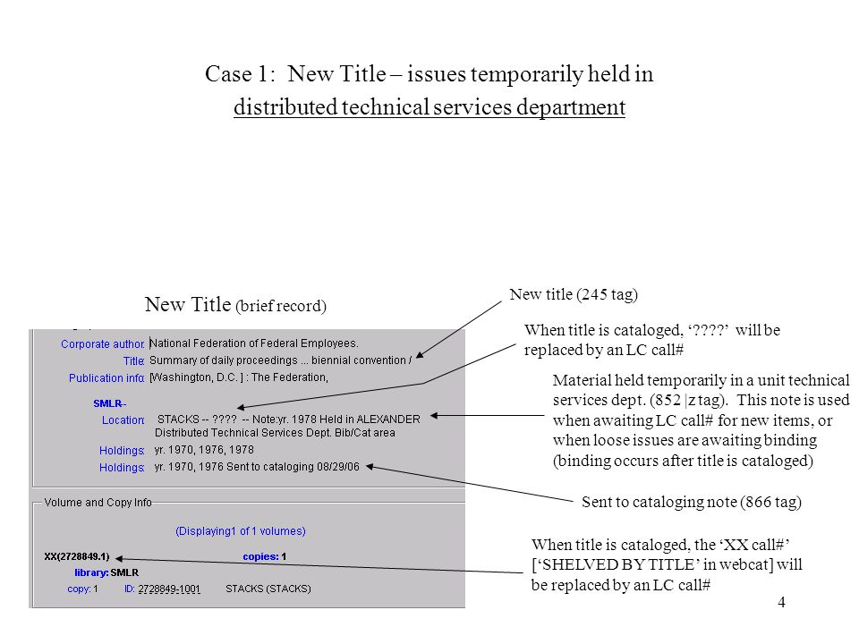 4 Case 1: New Title – issues temporarily held in distributed technical services department New Title (brief record) Sent to cataloging note (866 tag) New title (245 tag) When title is cataloged, the 'XX call#' ['SHELVED BY TITLE' in webcat] will be replaced by an LC call# When title is cataloged, ' ' will be replaced by an LC call# Material held temporarily in a unit technical services dept.