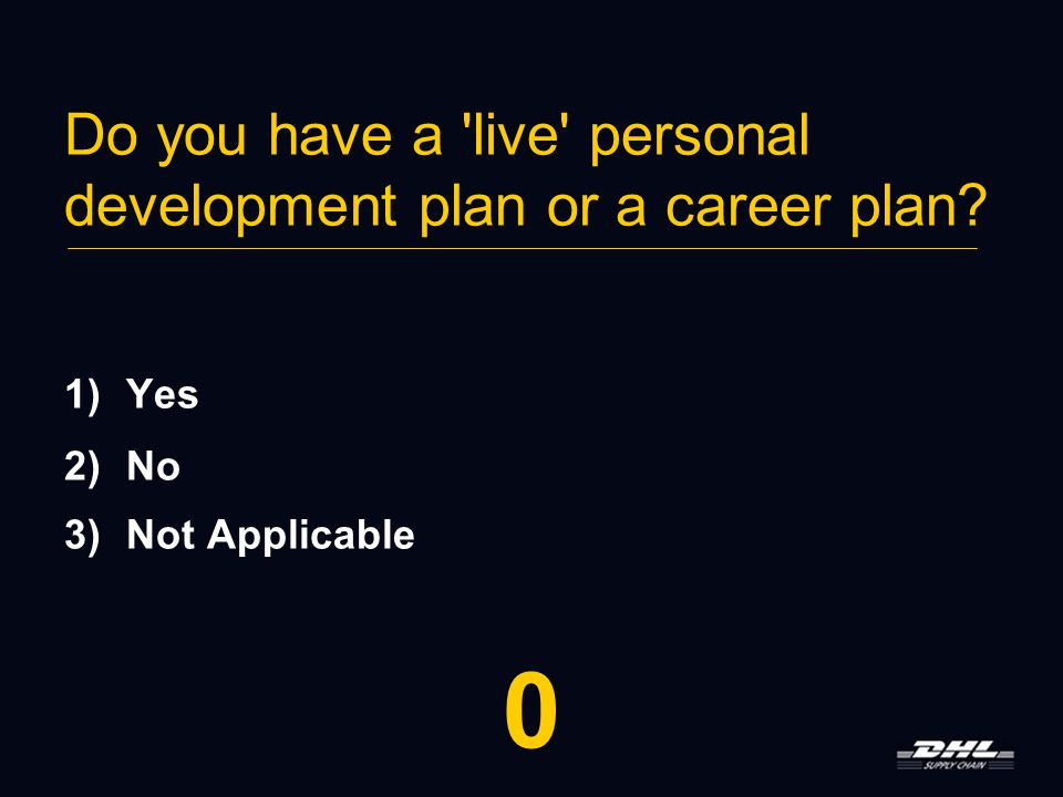 Do you have a live personal development plan or a career plan.