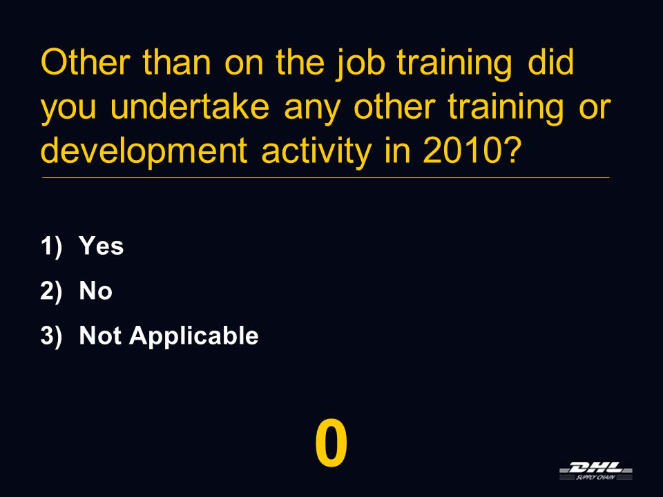 Other than on the job training did you undertake any other training or development activity in 2010.