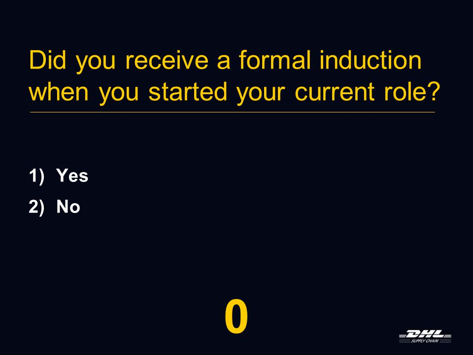 Did you receive a formal induction when you started your current role 1)Yes 2)No 9876543210