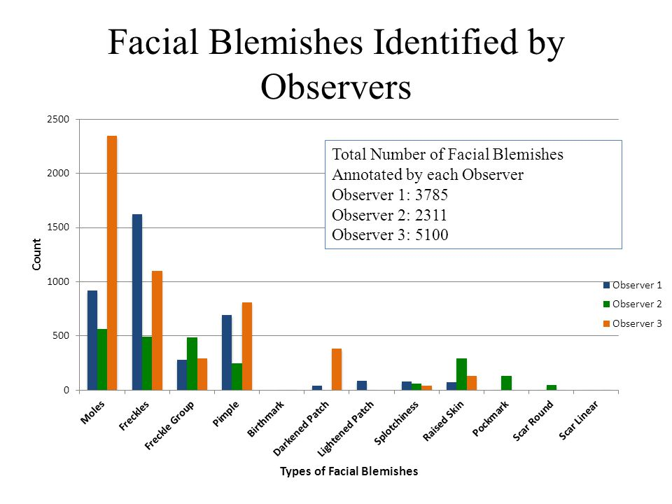 Facial Blemishes Identified by Observers Total Number of Facial Blemishes Annotated by each Observer Observer 1: 3785 Observer 2: 2311 Observer 3: 5100