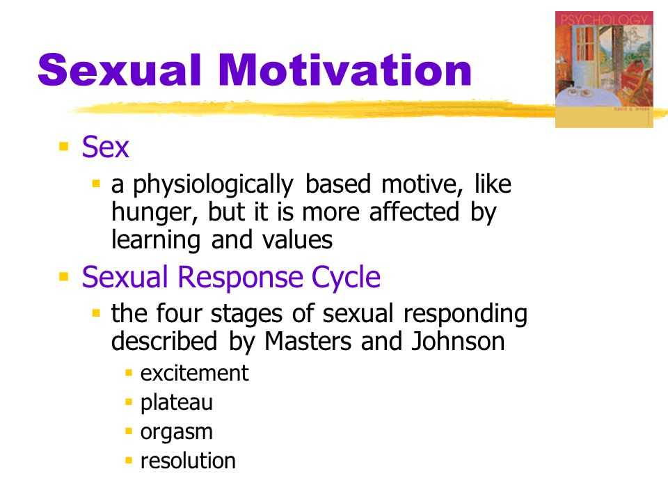 Sexual Motivation  Sex  a physiologically based motive, like hunger, but it is more affected by learning and values  Sexual Response Cycle  the four stages of sexual responding described by Masters and Johnson  excitement  plateau  orgasm  resolution